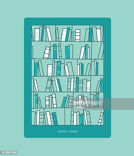 Bookshelves with books on smartphone screen. Digital library.