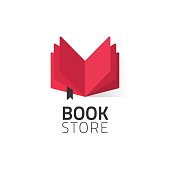 Bookstore logo vector illustration isolated on white, open book logotype