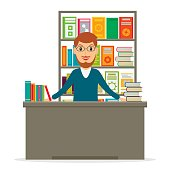 Bookstore or bookshop sales clerk or librarian at the library vector illustration. Male bookseller at the counter against shelves with books in flat style.