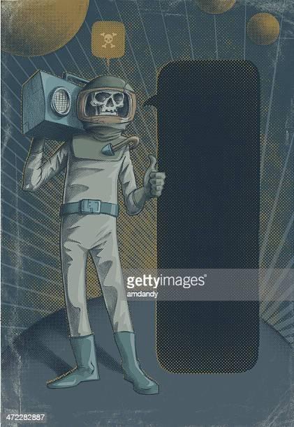 Boom Box astronaut! vintage scifi!