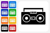 Boom box Icon Square Button Set