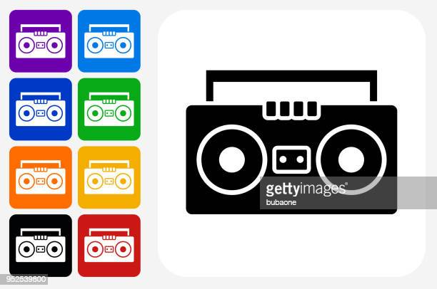 illustrazioni stock, clip art, cartoni animati e icone di tendenza di set di pulsanti quadrati dell'icona della scatola del braccio - hi fi