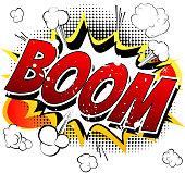 Boom - Comic book, cartoon explosion.