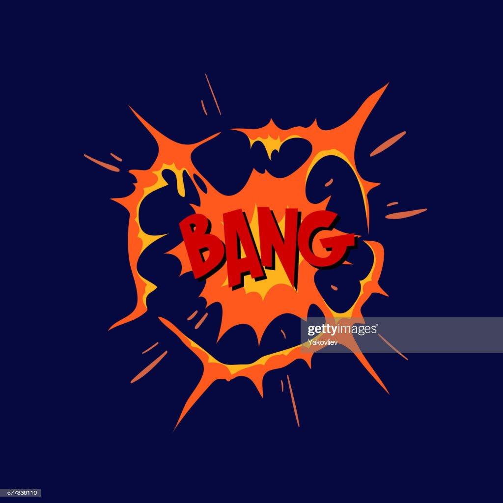 Boom. Comic book explosion. Hand drawn vector illustration