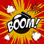 Boom! Comic style phrase on colorful background. Cartoon bomb