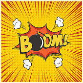 Boom comic text speech bubble with bomb. Vector isolated sound effect puff cloud iconon yellow background.