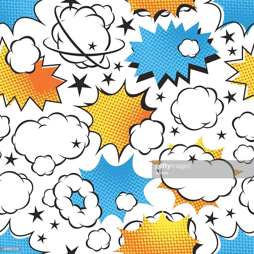 Boom icons seamless pattern explosion.