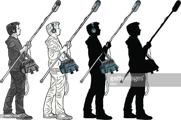 boom operator (silhouette and black & white versions) - producer stock illustrations, clip art, cartoons, & icons