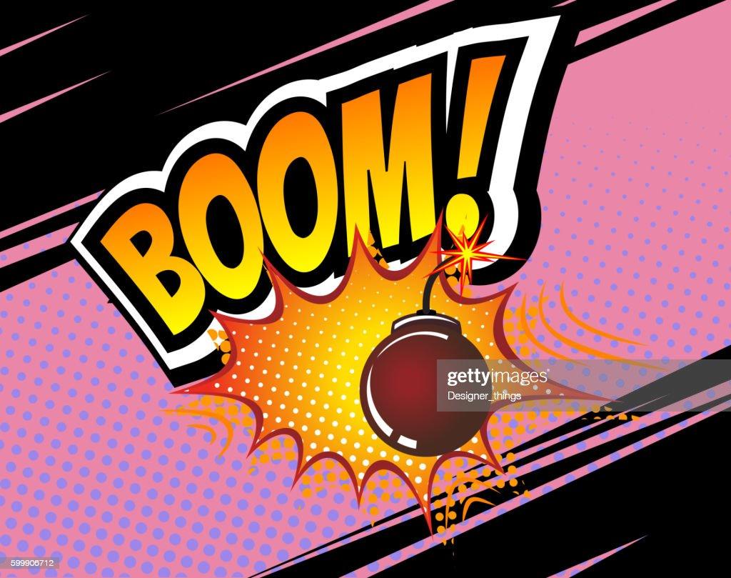 Boom. Vector Retro Comic Speech Bubble, Cartoon Comics Template. Mock