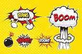 Boom. Vector Retro Comic Speech Bubble, Cartoon Comics Template