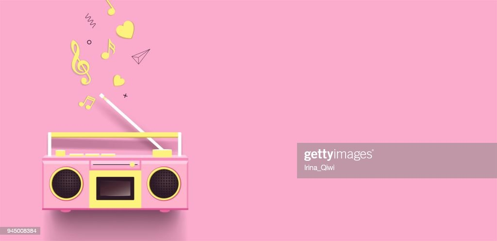 Boombox and music notes on pink background.