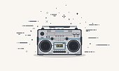Boombox line illustration