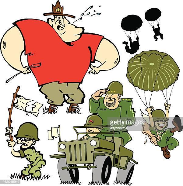 boot camp - paratrooper stock illustrations, clip art, cartoons, & icons