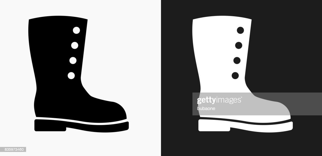 Boot Icon on Black and White Vector Backgrounds : Stock Illustration