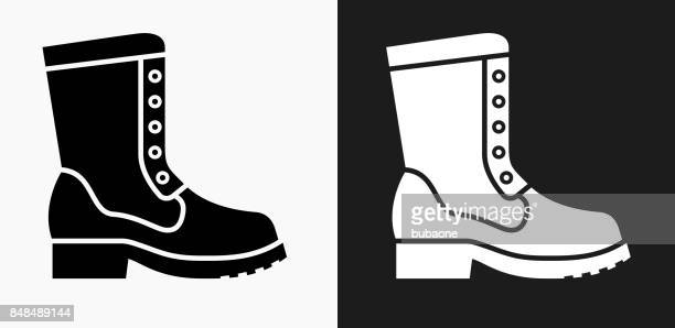 Boot Icon on Black and White Vector Backgrounds