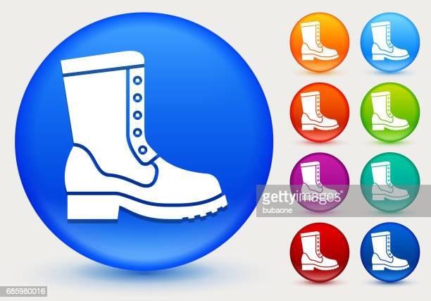 Boot Icon on Shiny Color Circle Buttons
