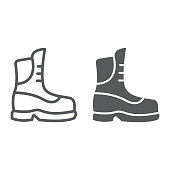 Boot line and glyph icon, clothing and footwear, shoe sign, vector graphics, a linear pattern on a white background.