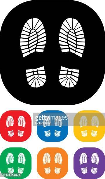 boot printsicon set - shoe print stock illustrations