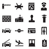 Border Crossing Icons. Black Flat Design. Vector Illustration.