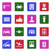 Border Crossing Icons. White Flat Design In Square. Vector Illustration.