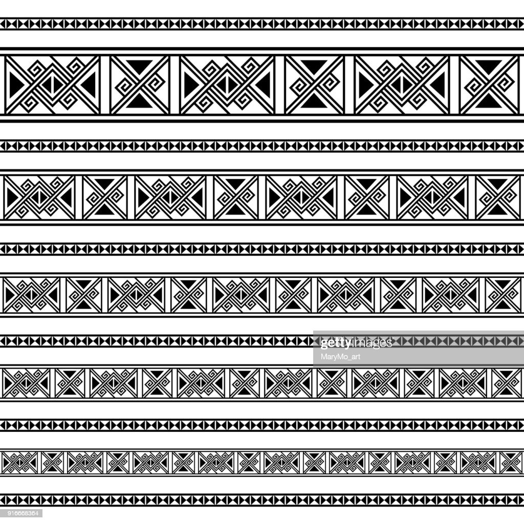 Border decoration elements patterns in black and white colors. Geometrical ethnic border in different sizes set collection. Vector illustration