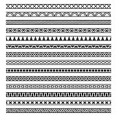 Border Decoration Seamless Patterns Set on White Background. Vector