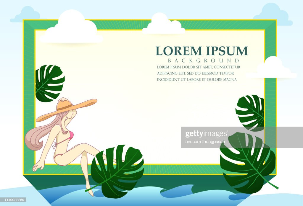 A border frame design decorated with girl in bikini and palm leaves, copy space, Vector illustration