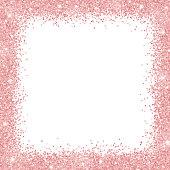 Border frame with rose gold glitter on white background. Vector