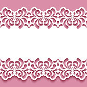 Border lace pattern with cutout floral swirls