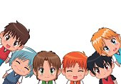 border of cute anime tennagers facial expression