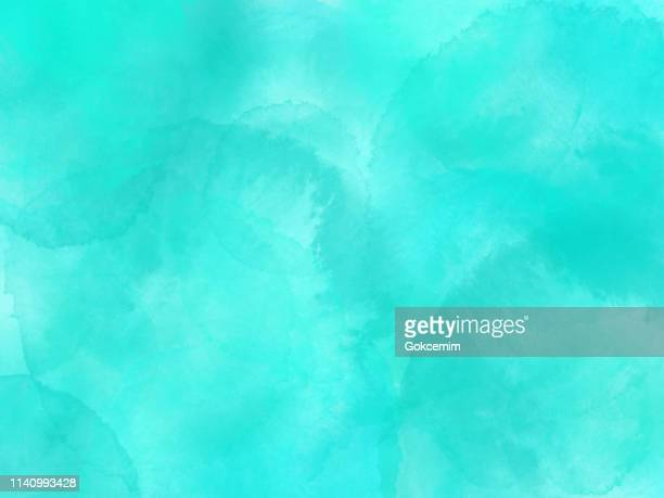 border of hues of turquoise blue paint splashing droplets. watercolor strokes design element. turquoise blue colored hand painted abstract texture. - softness stock illustrations