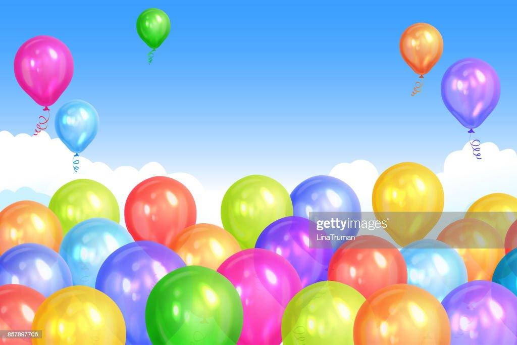 Grenze Von Realistischen Bunte Heliumballons Am Himmelshintergrund ...
