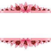 Border of rose petals with pink bow