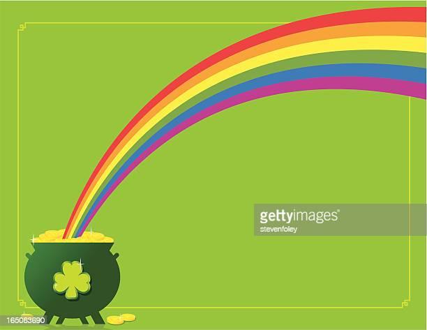 illustrazioni stock, clip art, cartoni animati e icone di tendenza di border-pentola d'oro - arcobaleno