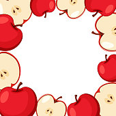 Border template with red apples