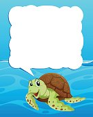 Border template with sea turtle swimming