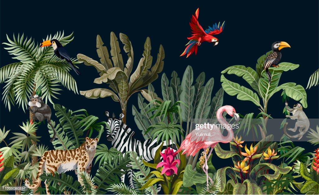 Grenze mit Dschungeltieren, Blumen und Bäumen. Vektor : Stock-Illustration