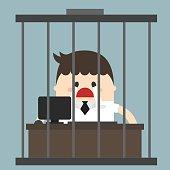Bored businessman, Working in birdcage, sad businessman,