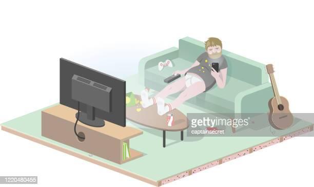 gelangweilter mann auf der couch isoliert zu hause. - unordentlich stock-grafiken, -clipart, -cartoons und -symbole