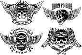 Born to ride. Set of the emblems with racer skulls. Biker club labels. Vector illustrations.