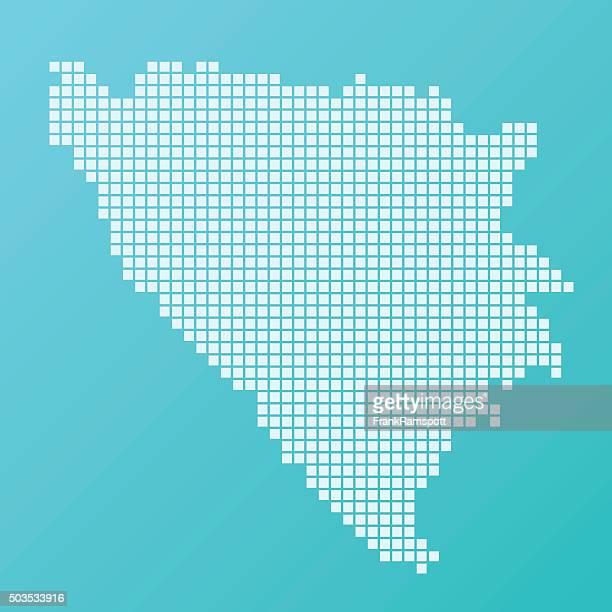 ilustraciones, imágenes clip art, dibujos animados e iconos de stock de bosnia y herzegovina mapa pies patrón de fondo turquesa - frank ramspott