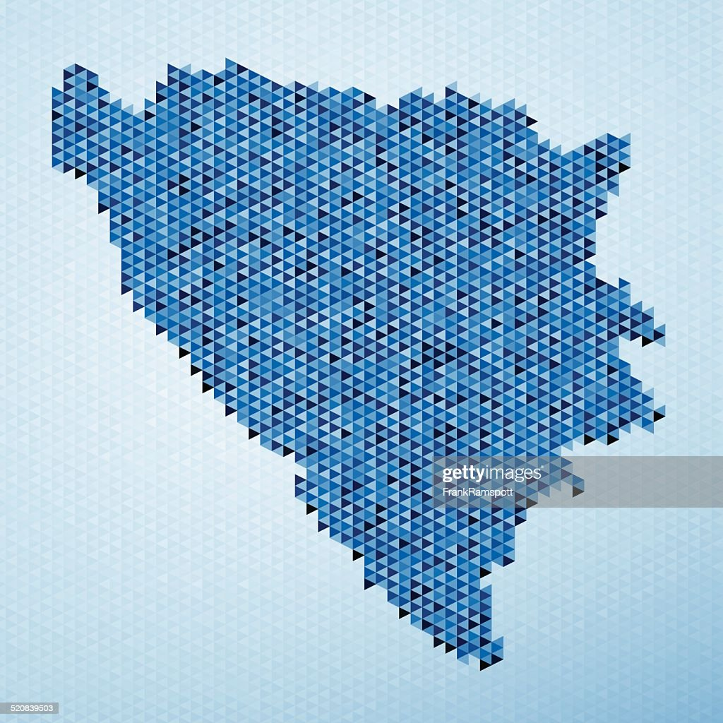 Bosnien und Herzegowina Karte Dreieck Muster in blau : Stock-Illustration