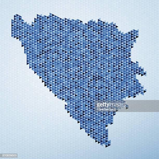 Bosnien und Herzegowina Karte Dreieck Muster in blau