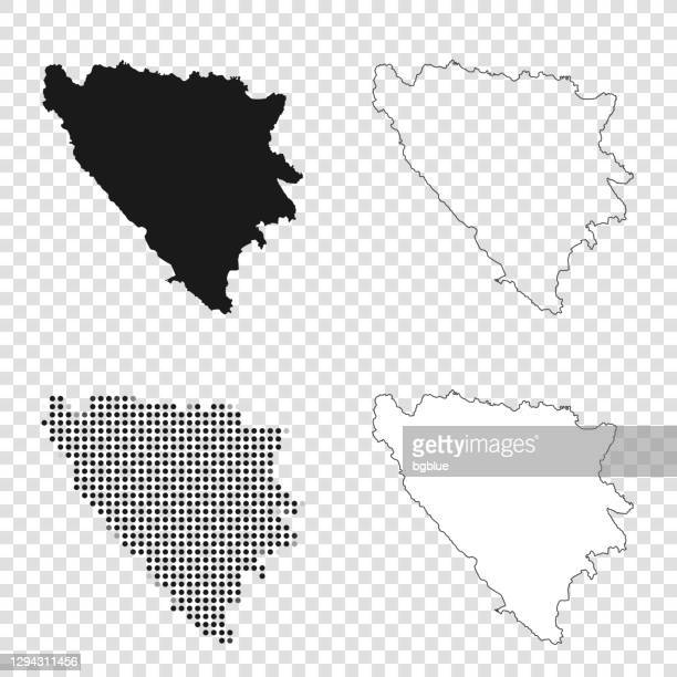 bosnia and herzegovina maps for design - black, outline, mosaic and white - bosnia and hercegovina stock illustrations