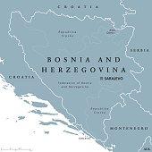 Bosnia and Herzegovina political map with capital Sarajevo