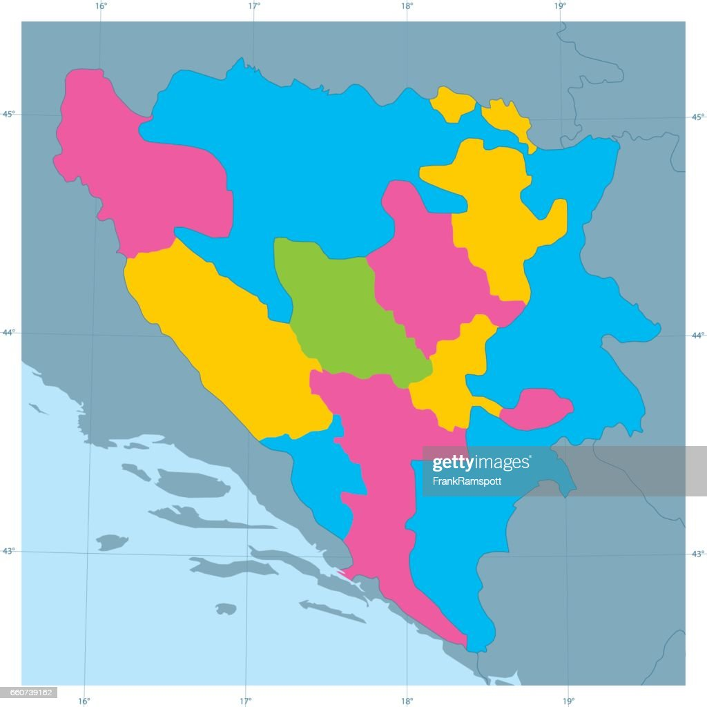 Bosnia And Herzegovina Vector Map Colorful Administrative Divisions