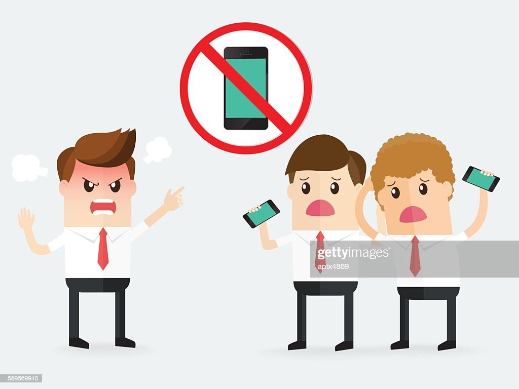 boss complaining to businessman, sign of no cell phone use