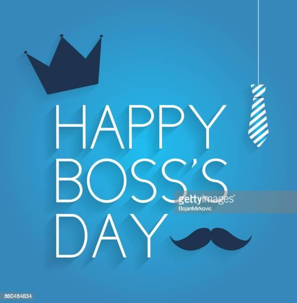 boss day poster on blue background with hanging tie, crown and mustache - day stock illustrations, clip art, cartoons, & icons