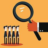 Boss examining employees with magnifying glass. Recruitment candidates concept