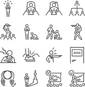 Boss line icon set. Included the icons as leader, team, bossy, command, manager, chief and more.